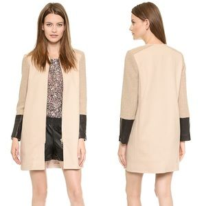 Club Monaco | Faye Longline Wool Leather Jacket XS